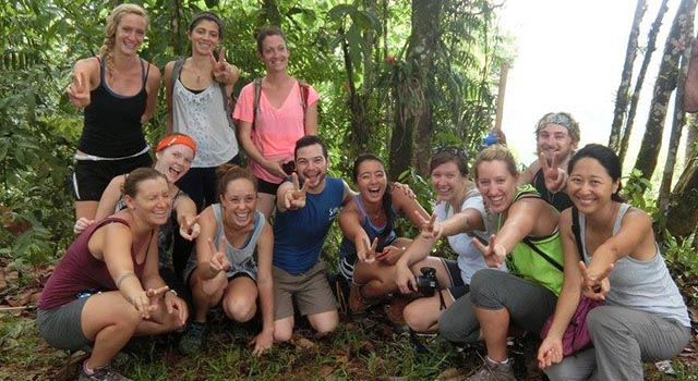 group of students in the rainforest of Costa Rica while doing their year abroad at the University for Peace