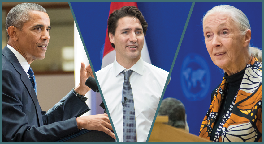 President Barack Obama, Prime Minister Justin Trudeau, and Dame Jane Goodall at their respective lectures in SIS.
