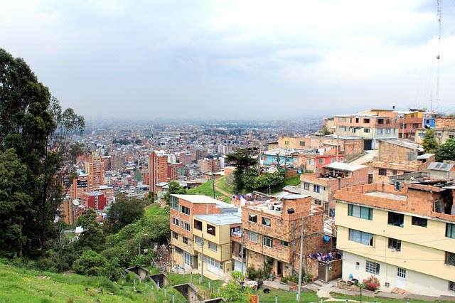 overlooking the rooftops of the crowded city of Bogota, Colombia