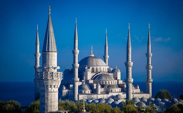 turrets and complex architecture of the Blue Mosque in Istanbul