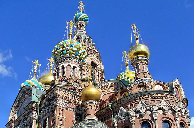 "exterior of the ornate facade and ""onion domes"" on the Church of the Savior on Spilled Blood"