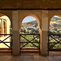 A view from a balcony at The Alhambra's Garden of the Partal in Grenada, Spain
