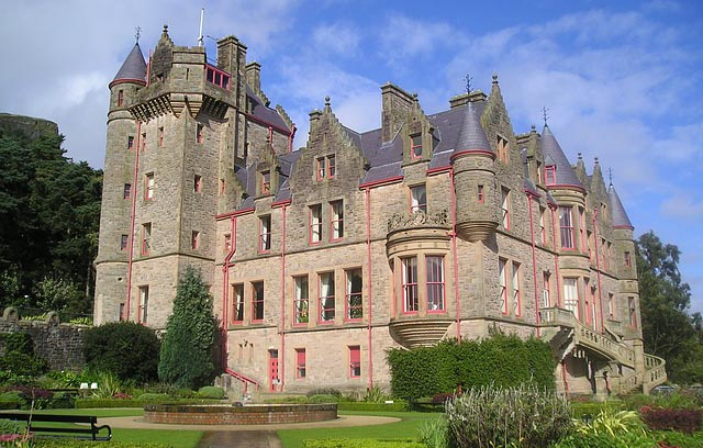 exterior of a large castle in Northern Ireland and the garden surrounding it