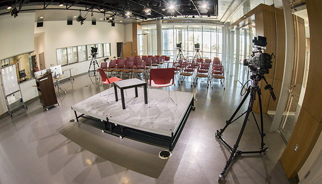 The Media Innovation Lab with chairs and cameras set up, but no people.