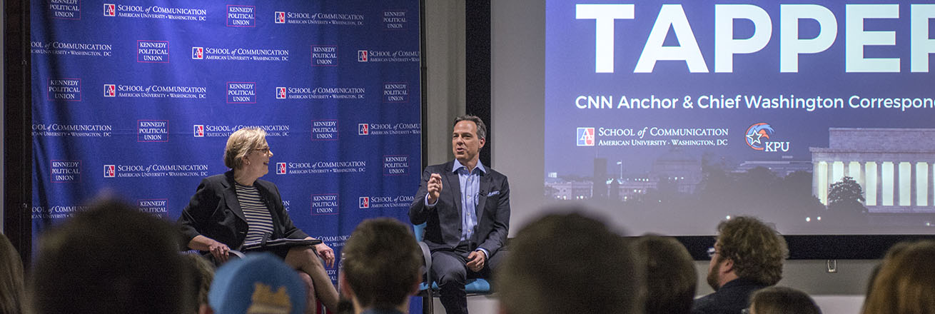 An event in the Doyle/Forman Theater with CNN's Jake Tapper and SOC Professor Jane Hall