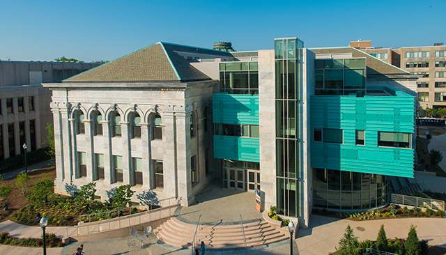 Exterior aerial shot of the McKinley building.