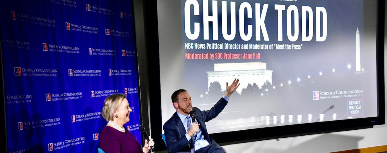 An event in the Doyle/Forman Theater with NBC's Chuck Todd and Professor Jane Hall