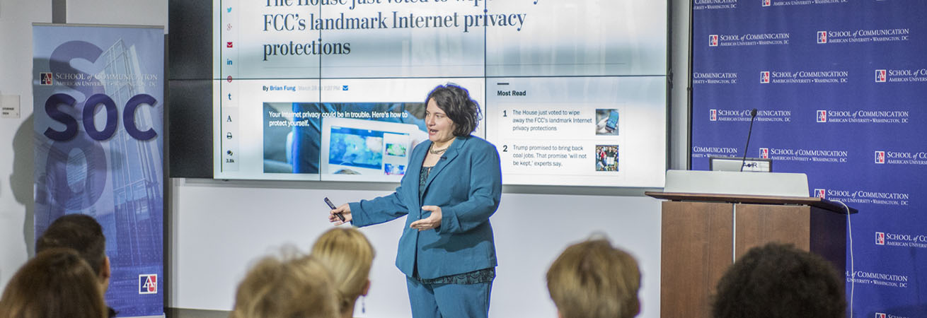 Woman lecturing on FCC internet privacy regulations
