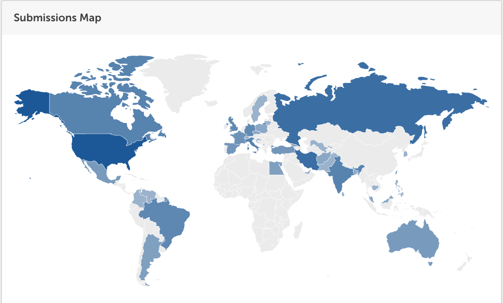 World map showing where all of the eco comedy film submissions came from.