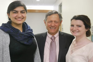 Sirjaut Kaur Dhariwal (left), Professor Chris Palmer (middle), Crystal Solberg (right)