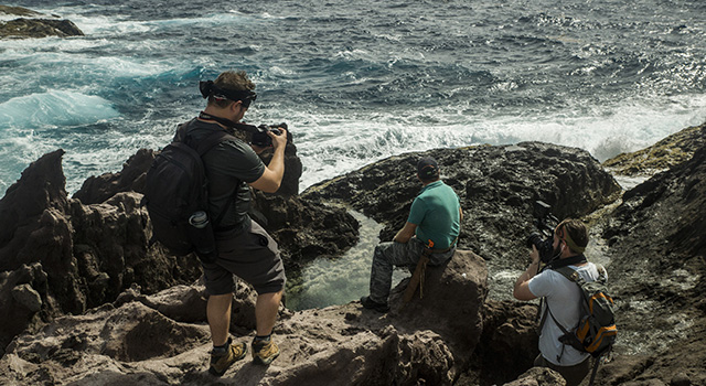 Nick Zachar filming in the Caribbean.