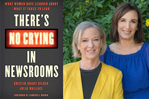 Kristin Grady Gilger and Julia Wallace next to the cover of their book