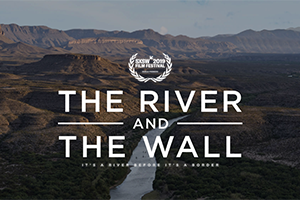 River and Wall logo over image of river