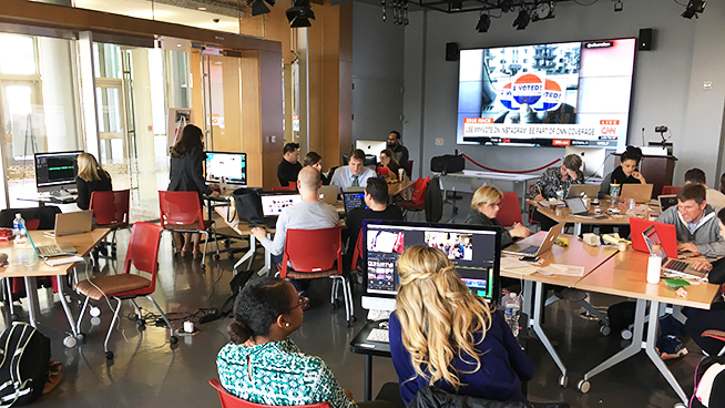 Students in Media Innovation Lab reporting on election day 2016