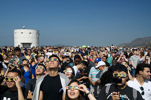 Crowd watches eclipse at Griffith Observatory