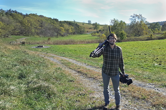 Sam Sheline finishes a film shoot on a farm near Swoope, VA.