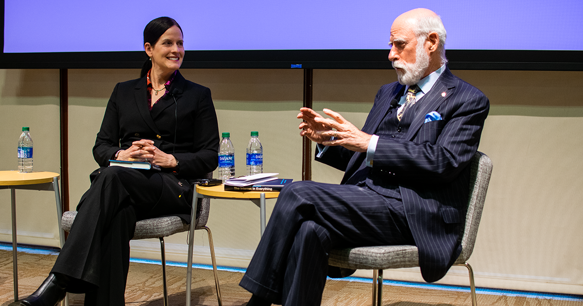 Laura DeNardis and Vinton Cerf at The Internet in Everything book talk