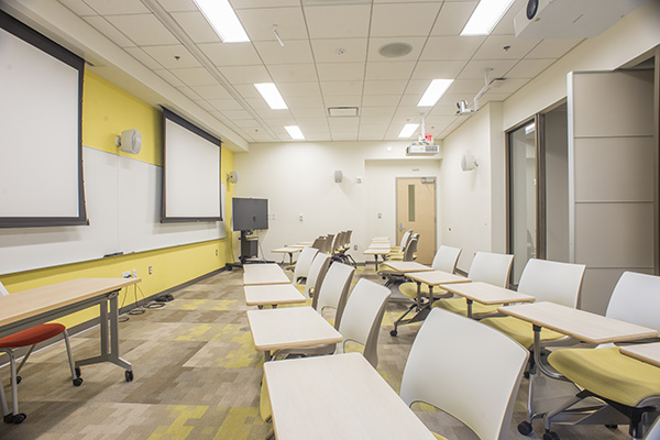 Classroom with two large projectors