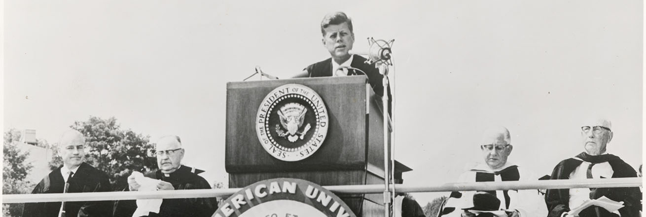 John F. Kennedy speaking at American University
