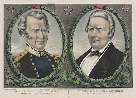 Left: Bust of Zachary Taylor. Right: Bust of Millard Fillmore.
