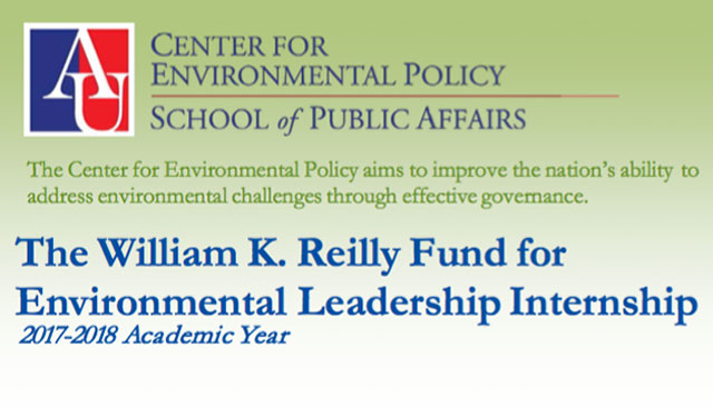 The William K. Reilly Fund for Environmental Leadership Internship 2018