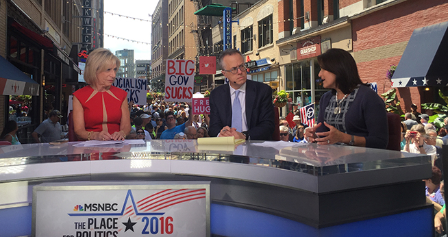 Anita McBride, far right, joins Andrea Mitchell on MSNBC at the convention.