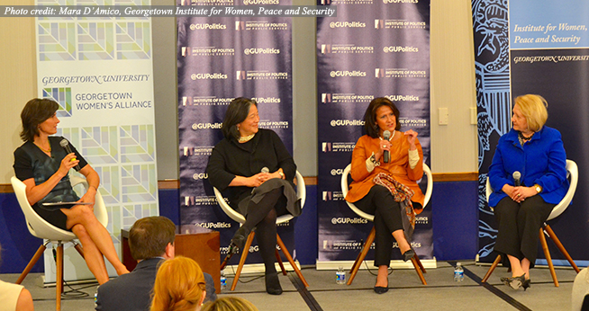 Left to right: Melanne Verveer, Tina Tchen, Anita McBride, and ABC News's Claire Shipman (Photo credit: Mara D'Amico)