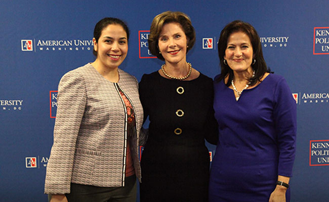 On April 8, 2015, Laura Bush was recognized by the American University community for her tireless commitment to global health, education, and human rights.