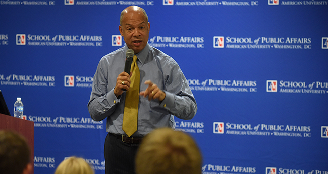 DHS Secretary Jeh Johnson Speaks with Students at SPA
