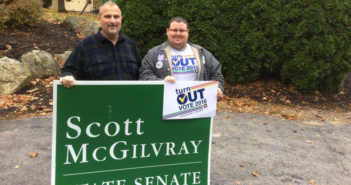 Gregory Pratt, left, campaigning in New Hampshire for the 2016 Elections.