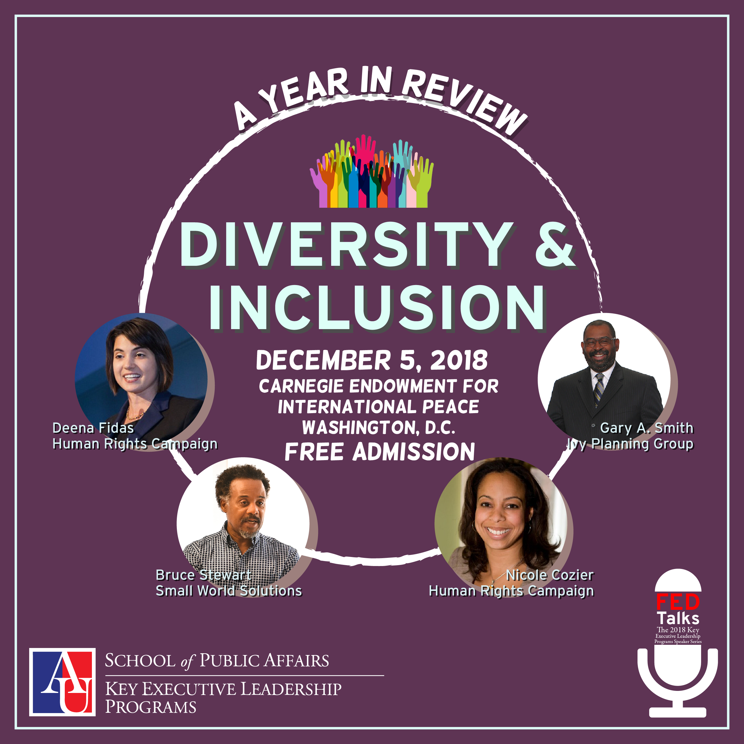 FedTalks Year in Review flyer with speakers, description in text below