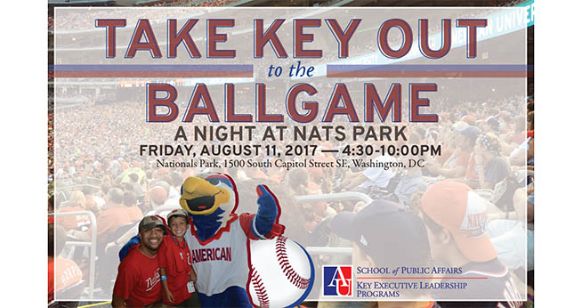 Take Key Out to the Ballgame. A Night at Nats Park. Friday, August 11, 2017, 4:30-10:00PM.