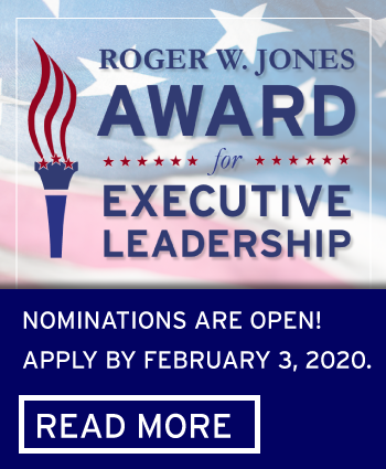 Roger Jones Award For Executive Leadership nominations are open for 2019-2020.  Apply by Feb. 3, 2020