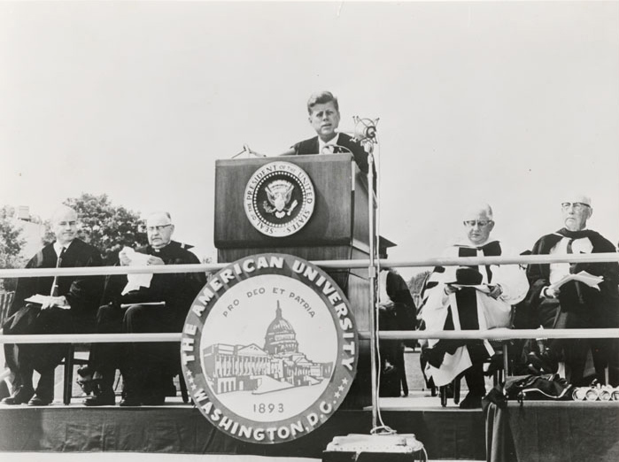 John F. Kennedy speaks at American University