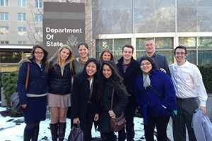 Leadership students outside of the State Department.