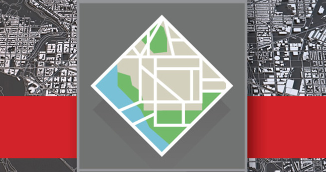 Metropolitan Policy Center Logo atop red bar, and black and white rendering of DC map.