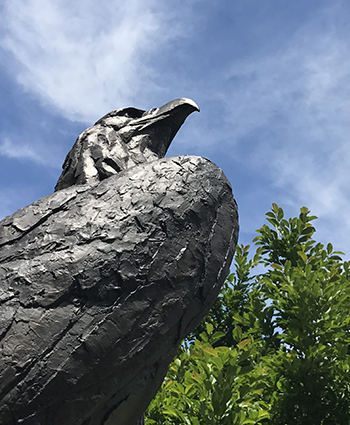 bird statue on the American University campus