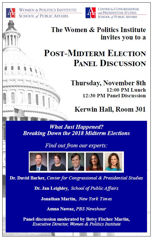 The Women & Politics Institute post-midterm election panel november 8th in Kerwin Hall, Room 301.