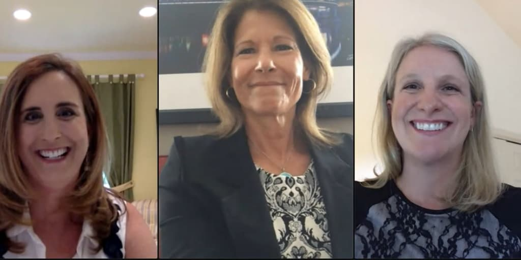 Betsy Fischer Martin, Cheri Bustos, and Lucinda Guinn on a zoom call.
