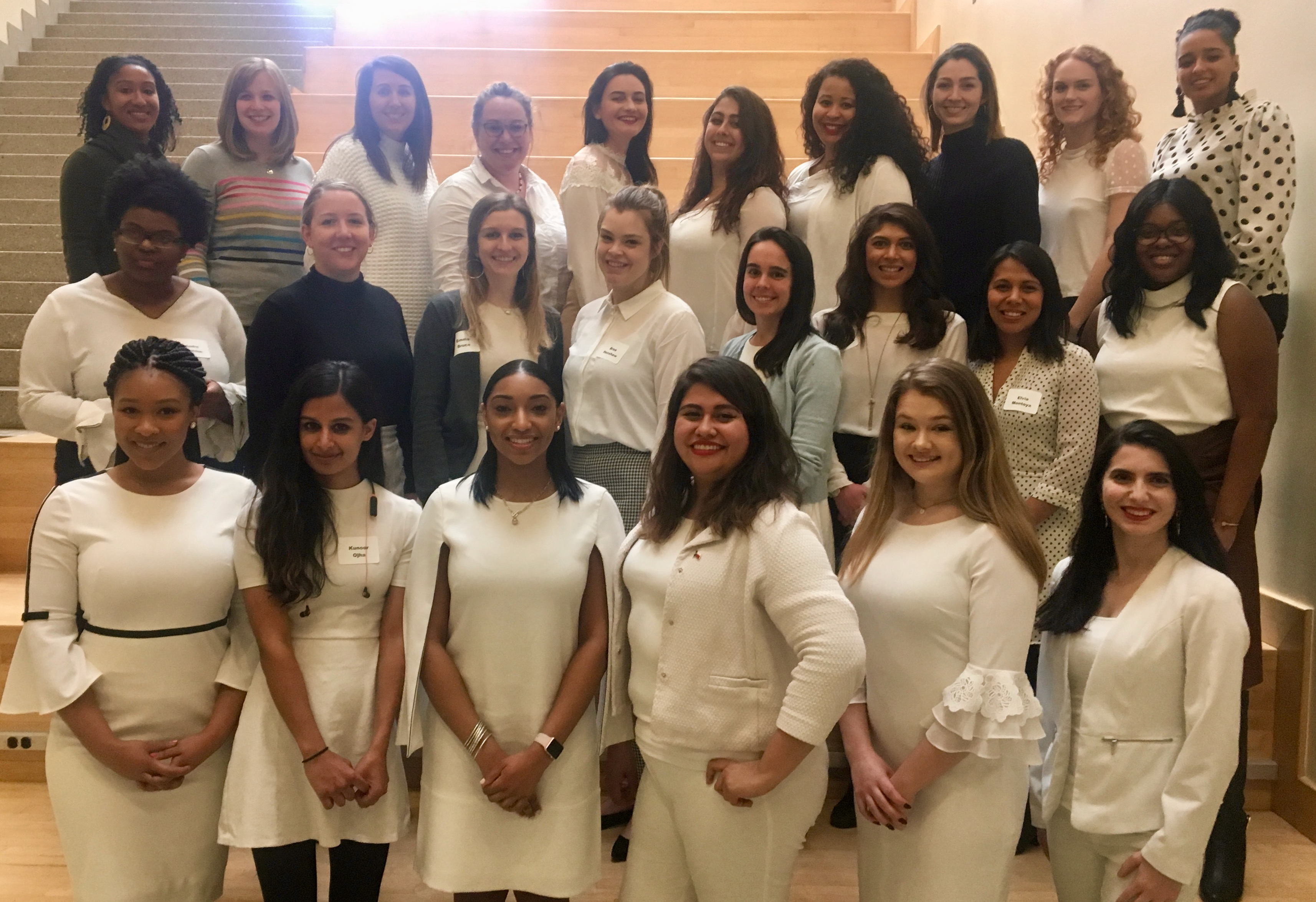 The WeLead cohort wearing white during the February training session