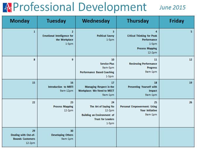 Professional Development Calendar