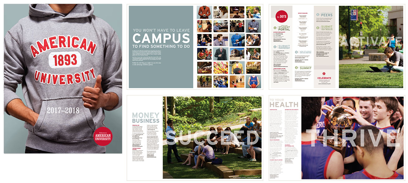 Cover and selected pages from the admissions booklet  for undergraduate students