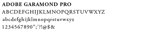 example of the adobe garamond pro font letters and numbers