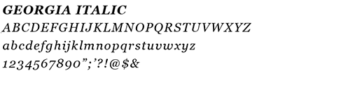example of the Georgia Italic font letters and numbers