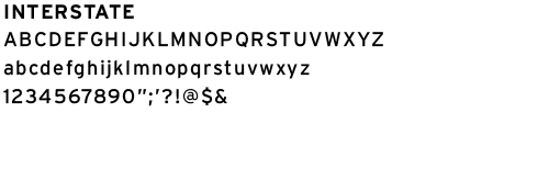 example of the interstate font letters and numbers