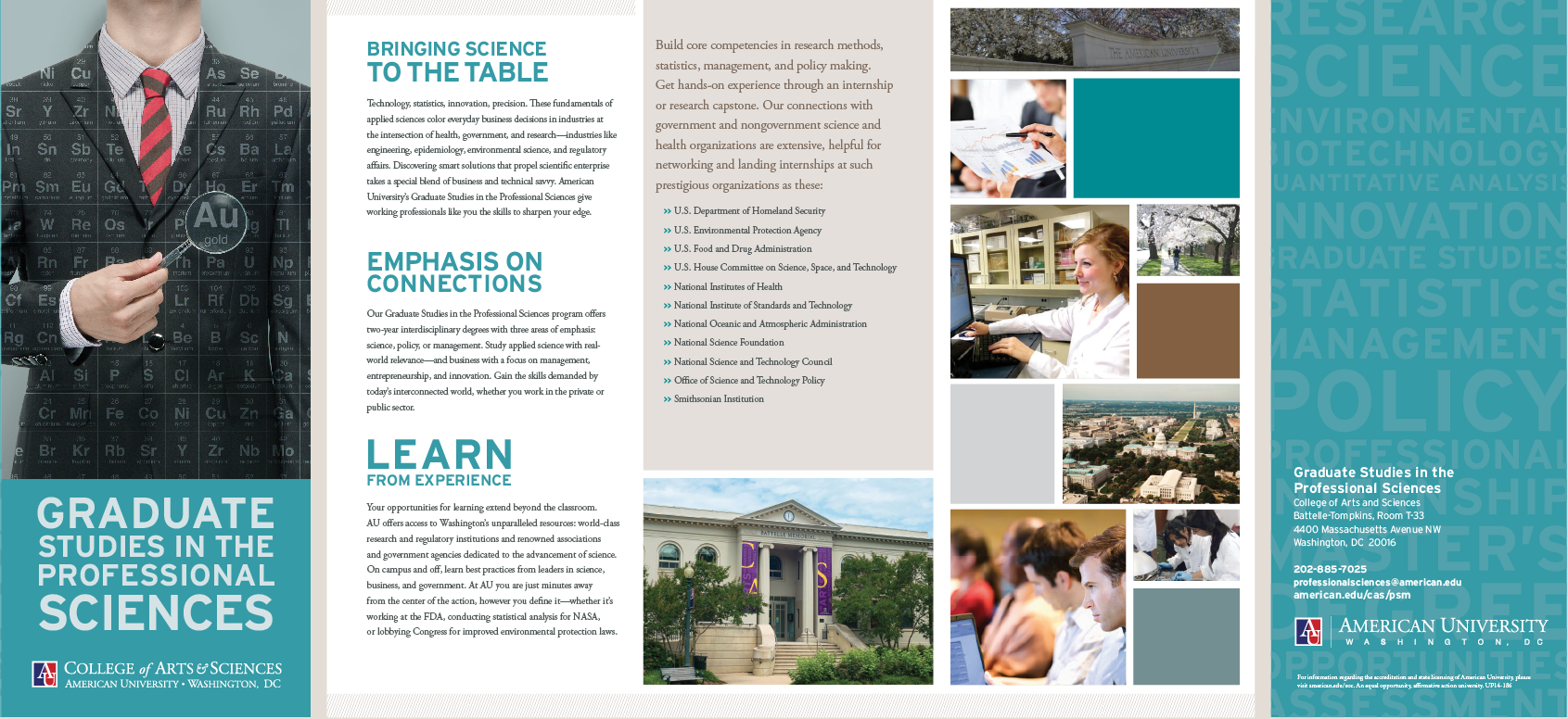 cover and 4 interior panels of the CAS graduate studies in the professional sciences brochure