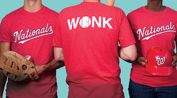 WONK models wearing Nationals t-shirts