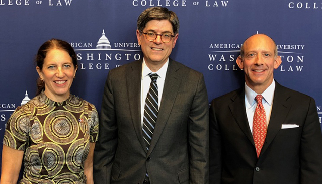 President Sylvia M. Burwell, former Secretary of the Treasury Jack Lew, and Professor David Snyder
