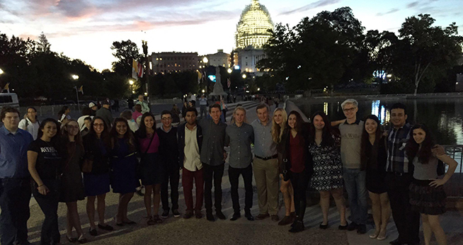 A selection of three-year scholars up bright and early in the morning to see the Pope on the Capitol Hill lawn during his 2015 visit to Washington DC.