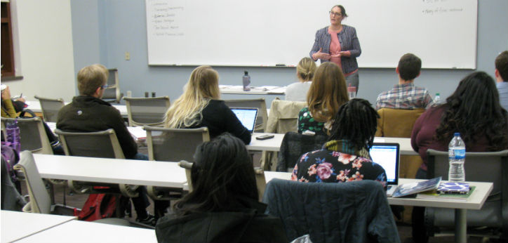 Prof. Poole teaching night class during fall 2016 semester